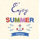 Enjoy summer vector typography on floral Royalty Free Stock Photos