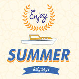 Enjoy summer vector typography on floral Royalty Free Stock Image