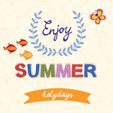 Enjoy summer vector typography on floral Stock Image