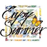 Enjoy Summer watercolor poster design. Enjoy Summer. Enjoy Summer Tee Shirt print. Watercolor Butterfly illystration. Enjoy Summer watercolor poster design Royalty Free Stock Images
