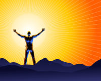 Enjoy The Sun. Vector illustration of shilouetted man standing in front of a sun disc on a mountain's peak Royalty Free Stock Image