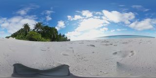 Tropical island beach in 360 degrees Maldives Virtual Reality - Relaxing view. Enjoy the sun at a beautiful tropical island. The Maldives is a South Asian island stock footage