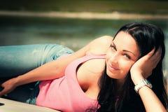Enjoy in sun. Young woman enjoy in sun on beach, summer day Royalty Free Stock Photos