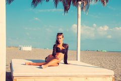 Enjoy in sunny day at beach Stock Photos
