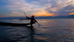 Attractions on Inle Lake, Myanmar stock footage