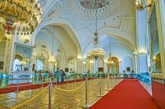 Enjoy Talar-e Salam Hall of Golestan, Tehran. TEHRAN, IRAN - OCTOBER 11, 2017: The Reception Hall Talar-e Salam of Golestan Palace with mosaic on the floor Stock Photos