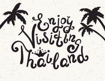 Enjoy Thailand-Fahne besuchend lizenzfreie abbildung
