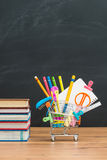 Enjoy to shopping school supplies for back to school Stock Image