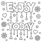 Enjoy today. Coloring page. Vector illustration. Enjoy today. Coloring page. Black and white vector illustration Royalty Free Stock Photos