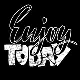 Enjoy today. Hand drawn dry brush lettering. Ink illustration. Modern calligraphy phrase. Vector illustration. Enjoy today. Hand drawn dry brush lettering. Ink Royalty Free Stock Photos
