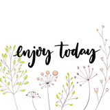 Enjoy today. Inspirational quote for social media content and motivational cards Royalty Free Stock Photos