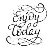 Enjoy today text on white background. Calligraphy lettering Vector illustration EPS10 Stock Photos