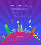 Enjoy the Tour - flat design travel composition Royalty Free Stock Photography