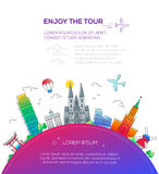 Enjoy the Tour - flat design travel composition. Enjoy the Tour - vector illustration of flat design travel composition with famous landmarks icons and copy stock illustration