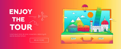 Enjoy the Tour - vector line travel web page header illustration Stock Photography