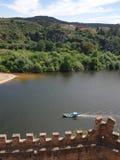Enjoy the trip. River boat castle moutain sky run enjoy trip stock photos