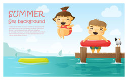 Enjoy tropical summer holiday background Royalty Free Stock Images