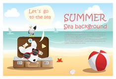 Enjoy tropical summer holiday with little dog vector illustration