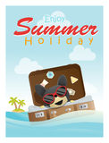 Enjoy tropical summer holiday with little dog Stock Photos
