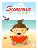 Enjoy tropical summer holiday with little girl. Vector, illustration Stock Photo