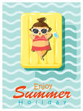 Enjoy tropical summer holiday with little girl. Vector, illustration Stock Photos