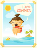 Enjoy tropical summer holiday with little girl. Vector, illustration Royalty Free Stock Photo