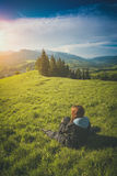Enjoy the valley. Instagram stylisation Royalty Free Stock Photography