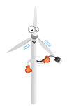 Enjoy wind energy comic character Stock Photo