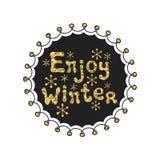 Enjoy winter calligraphy gold phrase. Handwritten glitter seasons lettering. Xmas phrase. Hand drawn element. Holidays Stock Image