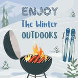 Enjoy winter outdoors. Winter holiday concept. Cartoon style. Enjoy winter outdoors. Winter holiday outdoor sport and leisure banner background. Mountain ski vector illustration