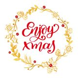 Enjoy xmas Calligraphy Lettering red text and a gold wreath with fir tree branches. Vector illustration. Enjoy xmas Calligraphy Lettering red text and a wreath Royalty Free Stock Image
