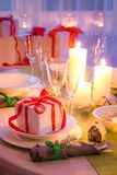 Enjoy you Christmas table setting with green and white decoration Royalty Free Stock Photos