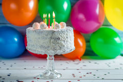 Enjoy your coconut birthday cake Stock Photography