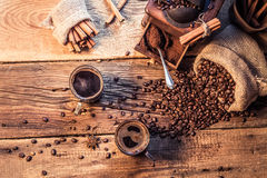 Enjoy your coffee made of grinding grains Royalty Free Stock Photography