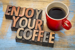 Enjoy your coffee in wood type Stock Photography