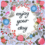Enjoy your day. Inspirational card Stock Image