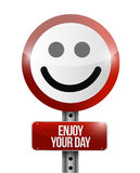 Enjoy your day road sign illustration design Royalty Free Stock Photo