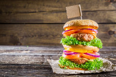 Enjoy your double-decker burger Royalty Free Stock Photo