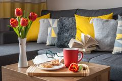 Enjoy Your Free Time with a Cup of Coffee, a Sweet Cookie and Your Favorite book. Royalty Free Stock Photography