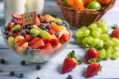 Enjoy your fresh fruit salad Stock Photography