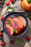 Enjoy your fruit soup with apples and cherries royalty free stock photos