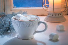 Enjoy your homemade Christmas chocolate with marshmallows Royalty Free Stock Photography