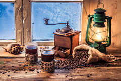 Enjoy your hot coffee in cold day Stock Images