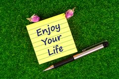 Enjoy your life in note. Enjoy your life in sticky note with pen and dried rose buds on grass Royalty Free Stock Photos