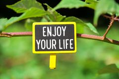 Enjoy your life text on board. Enjoy your life text written on yellow small chalkboard linked tree with clothespin on nature green background stock photo