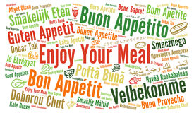 Enjoy your meal in different languages Royalty Free Stock Image