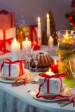 Enjoy your meal with family at Christmas table Stock Photo