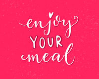 Enjoy your meal. Pink vector design with modern calligraphy for cafe cards and posters Stock Image