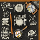 Enjoy your meal!. Retro vintage style hand drawn typographic symbols for restaurant menu design. Set of Calligraphic titles and symbols. Fast food. Meal stock illustration