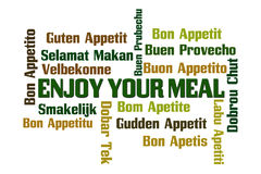 Enjoy Your Meal. Word Cloud on White Background Stock Images